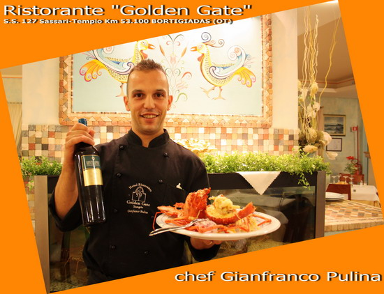 lo chef Gianfranco Pulina del Golden Gate di Bortigiadas in Sardegna con il Verdicchio Utopia di Montecappone