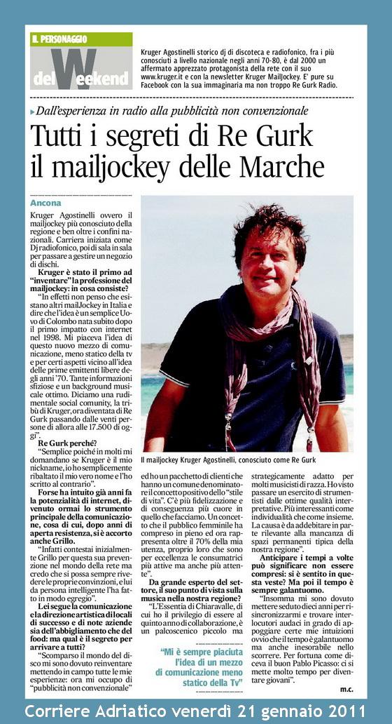 Corriere Adriatico Ancona Kruger Agostinelli Mailjockey Re Gurk Regurk Ancona
