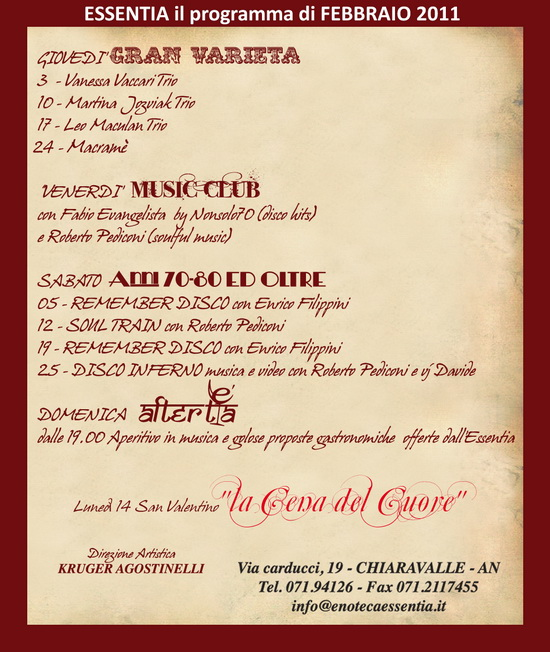 Essentia Chiaravalle programmi febbraio 2011