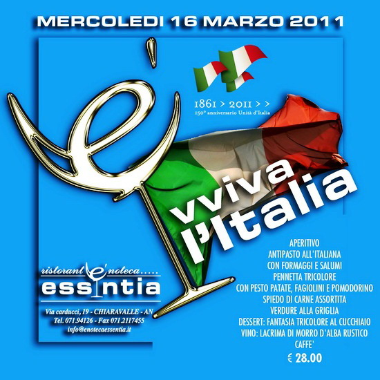 Essentia Chiaravalle provincia di Ancona Regione Marche cena musica Evviva Italia 17 marzo 2011