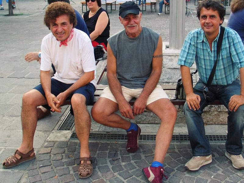Bernardo Lanzetti (PFM) Clive Bunker (Jethro Tull) e Kruger Agostinelli  31 luglio 2006 Falconara Piazza Mazzini