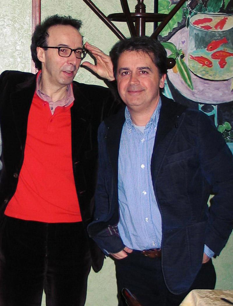 Roberto Benigni e Kruger Agostinelli 12 febbraio 2006 Roma Ristorante il Focolare