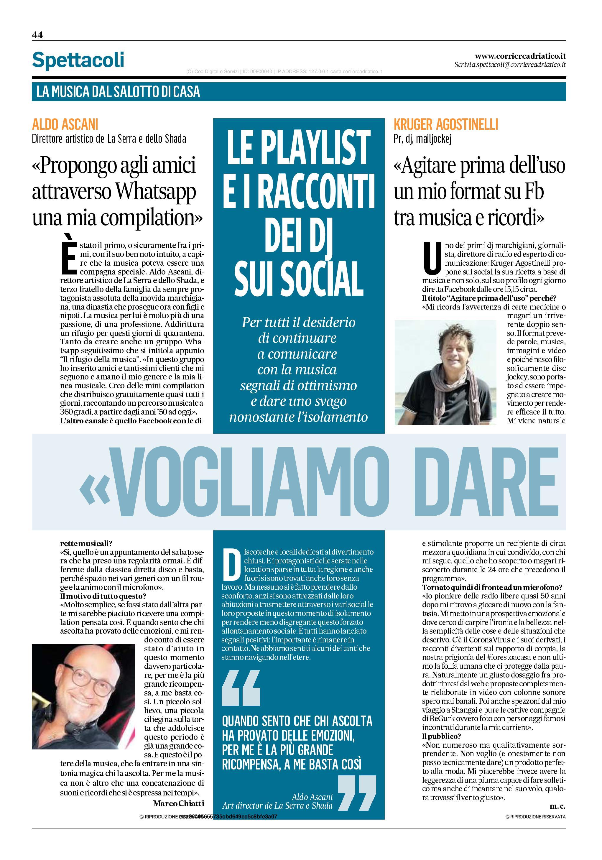 Corriere Adriatico del 24 aprile 2020